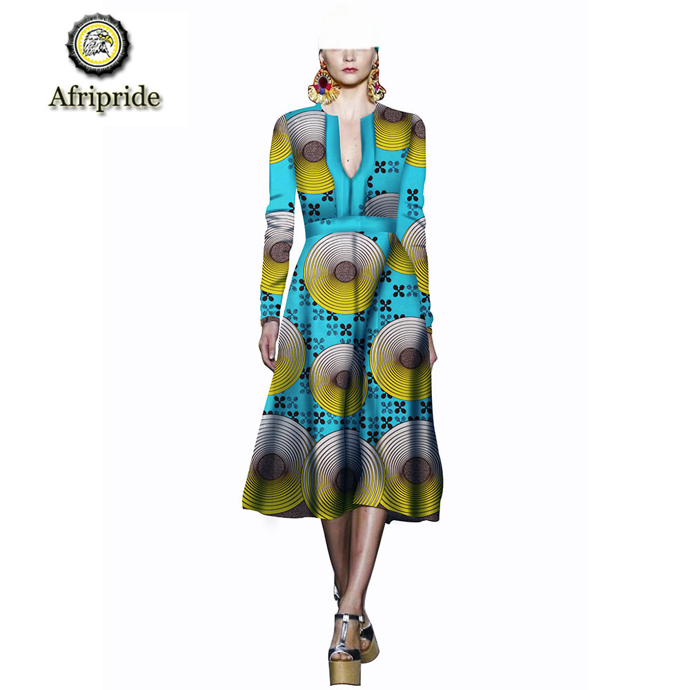 African women dress 2018 2019 pure cotton ankara print dashiki bazin riche new style African fabric fashion AFRIPRIDE S1825047 in Dresses from Women 39 s Clothing