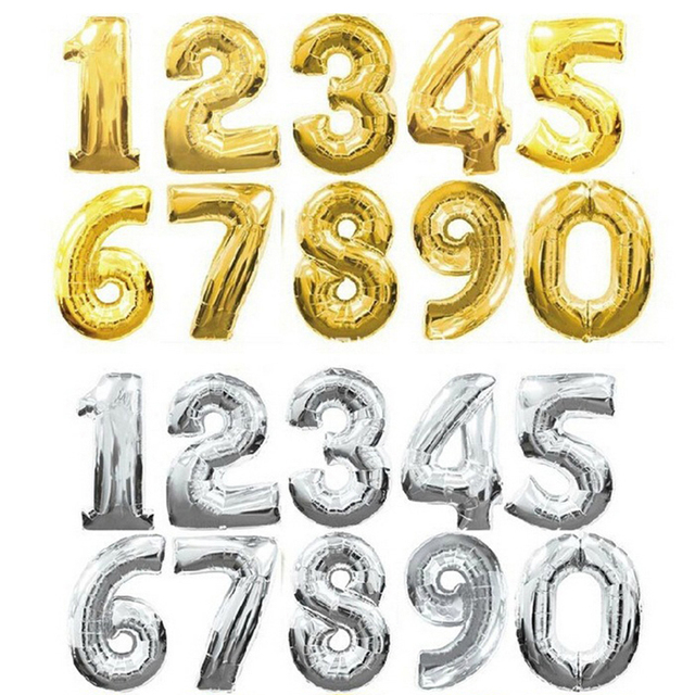 35 CM Gold Silver Number Balloon Aluminum Foil Helium Balloons Party Wedding Decoration Birthday