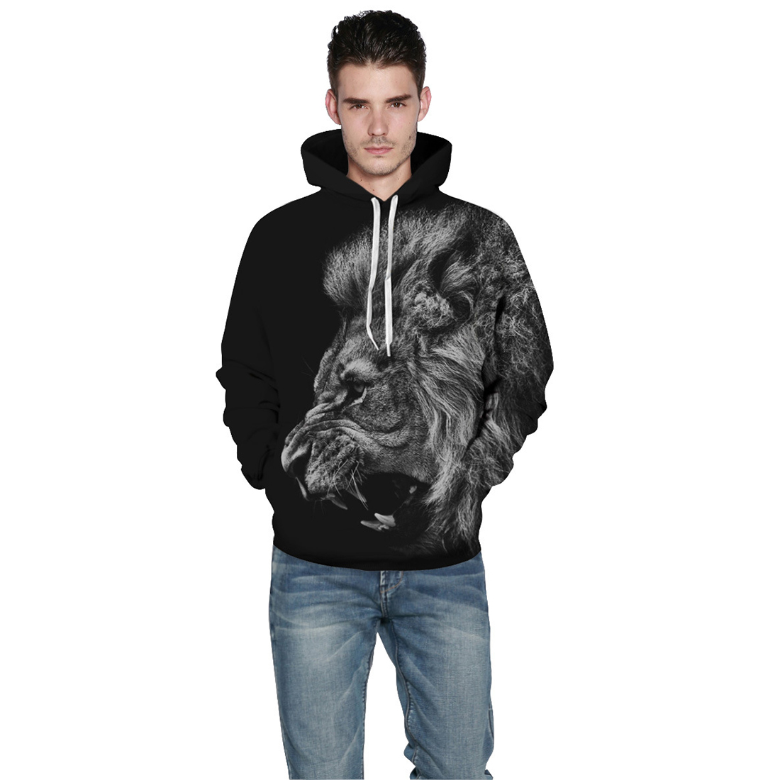 Men/Women New Fashion 3d Ferocious Lion Print Sweatshirts Thin Spring Autumn Hooded Pullovers Tops