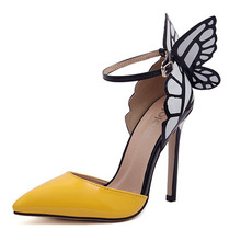 Women Lady Girl Fashion Butterfly High Heel Sandals Party Shoes patent leather Pumps US Size 5-9