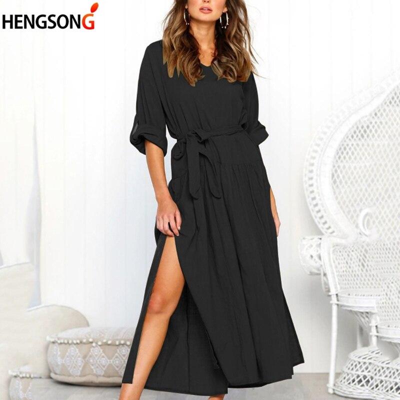 New Autumn Women's Dresses Bow Tie Long Sleeve Lace-up Sashes Dress Female Side Split Maxi Long Dress V Neck Loose Vestidos