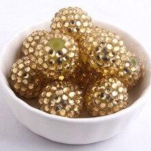 Kwoi vita Licht Goud kleur Resin Rhinestone Ball kralen Groothandel AAA Kwaliteit 20mm Chunky 100 stks/lotfor Kids sieraden