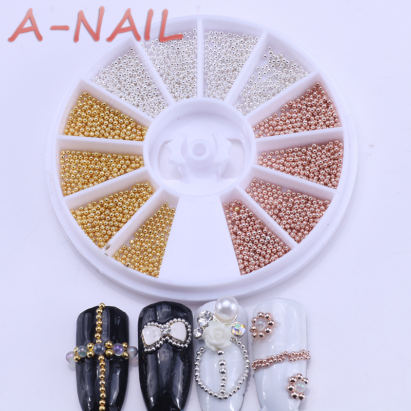 0.8mm/1.0mm/1.2mm/1.5mm Mixed 1 Box Steel Beads Nail Studs Gold Sliver Champagne 3D Nail Art Decorations In Wheel Manicure DIY