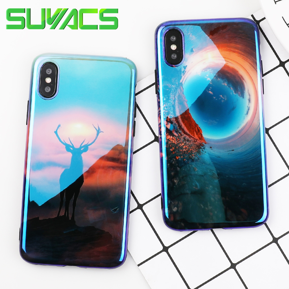 SUYACS Retro Nightfall Landscape & Deer Phone Case For iPhone 6 6S 7 8 Plus X Blu-Ray Laser Glossy Soft IMD Phone Back Cover