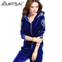 High End Women Set Brand Velvet Fabric Tracksuits Velour 2 Piece Suit Fashion Printed Hooded Hoodies