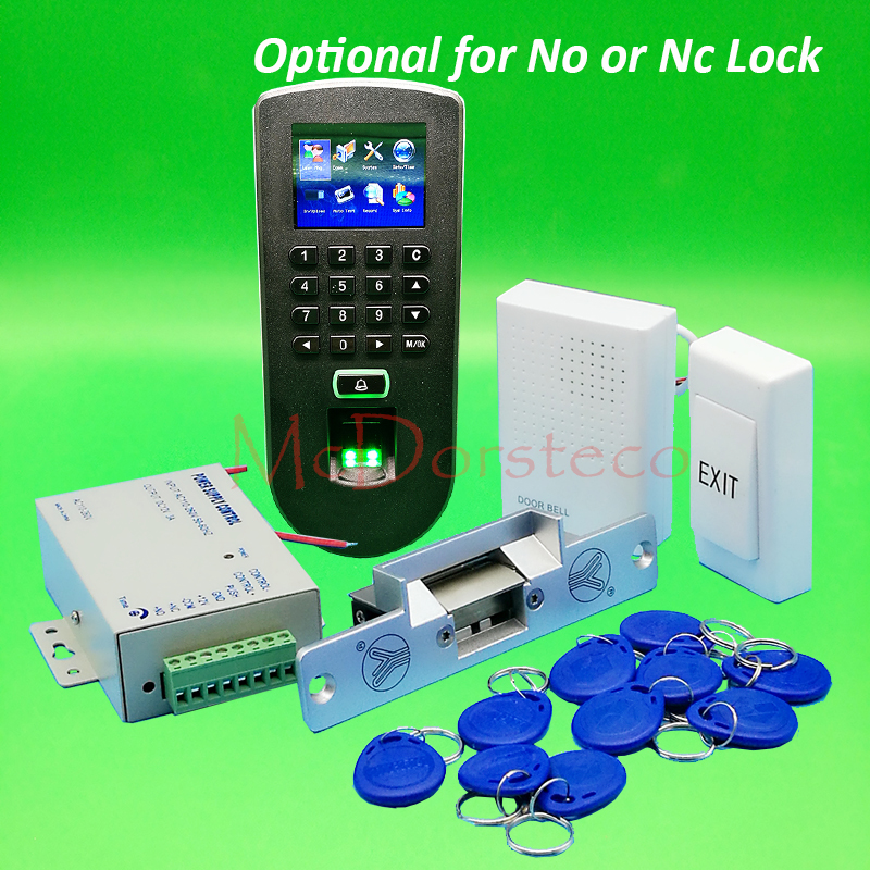DIY Complete No or Nc Electric Strike Lock Door System Kit F19 Fingerprint Access Control System + Power Supply + Door Bell