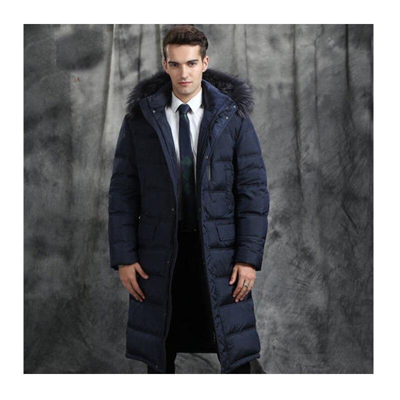 più recente e0b16 8acf4 US $350.0 50% di SCONTO|Men's Winter Jacket 2019 Hot Sale Warm White Goose  Down Man Coat Thick Long Hood Pure Raccoon Fur Collar Parkas Plus Size ...