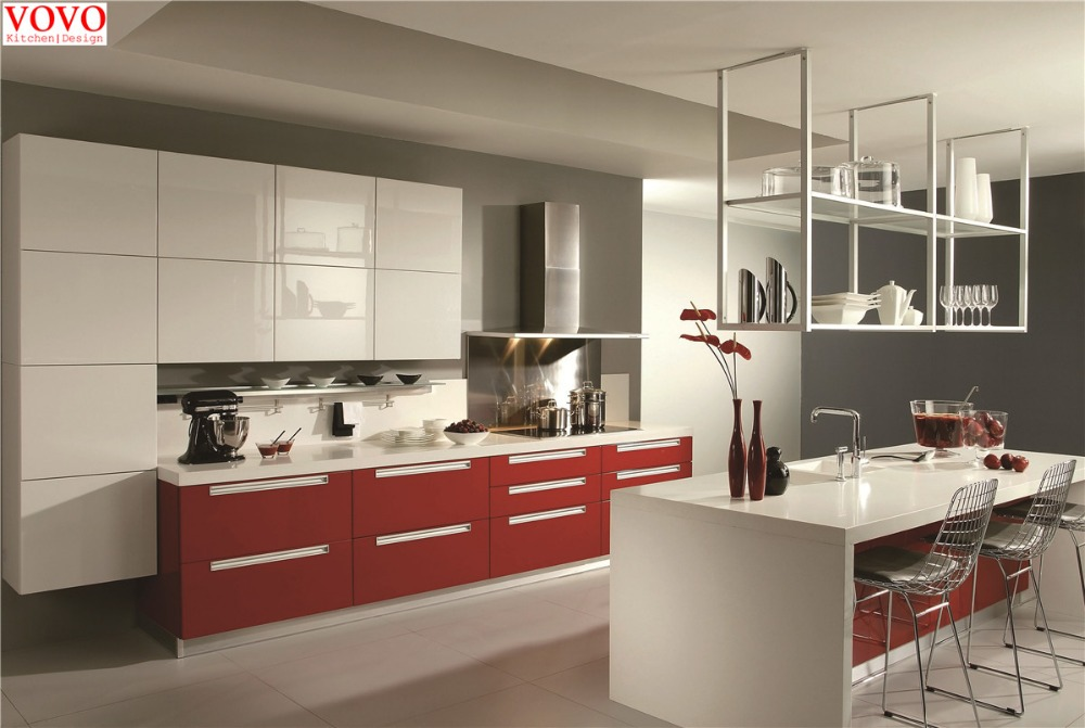 High gloss red white kitchen cupboard-in Kitchen Cabinets from Home ...