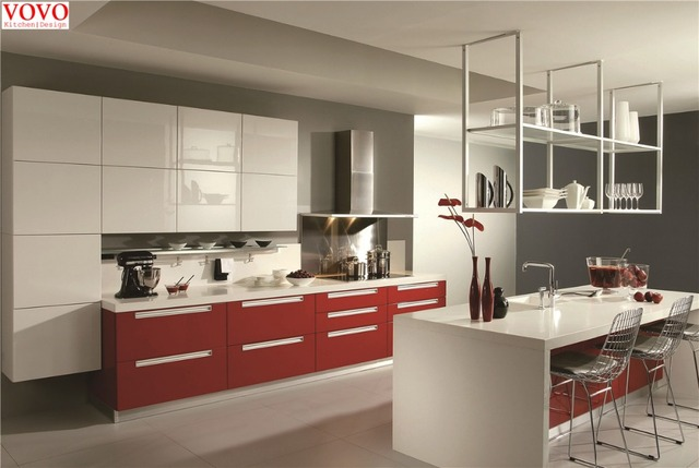 High Gloss Red White Kitchen Cupboard