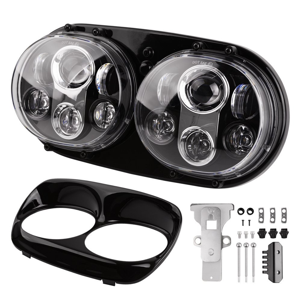 90w 7 Inch Dual Headlight for Harleys Davidsons Road Glide 2004-2013 Daymaker LED Motorcycle Headlamp Projector Driving Light 7 inch motocycle projector daymaker dual led headlight for harley davidson road glide 2004 2013