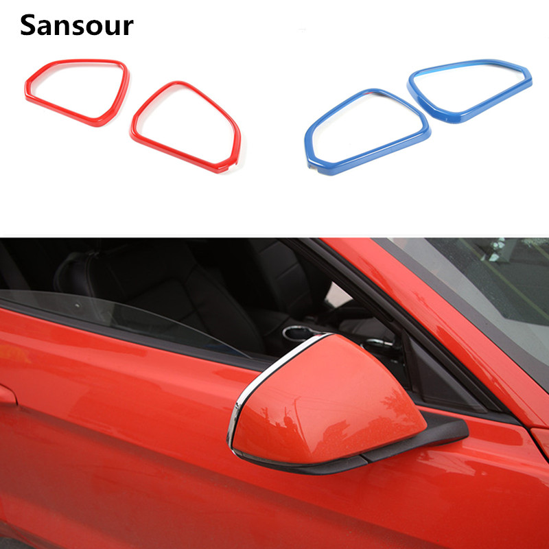 Sansour Car External ABS Review Mirror Decoration Frame Cover Ring Trim Stickers For Ford Mustang 2015 Up Car Styling