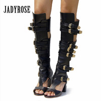 Jady Rose Genuine Leather Summer Boots Chunky High Heels Buckle Belt Hollow Out Knee High Boots Peep Toe Gladiator Sandals