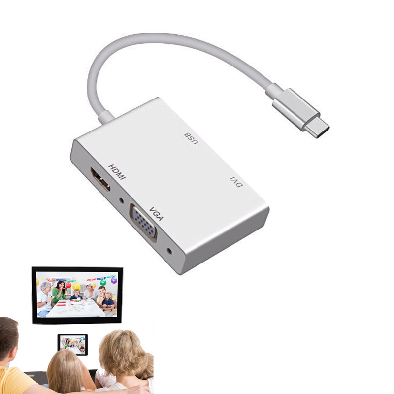 USB 3.1 Type C to VGA HDMI and USB3.0 OTG Adapter Video Converter for Macbook Samsung Galaxy S8 S8+ Note8 LG G5 to TV Projector usb 3 1 type c to 4k hdmi tv projector video adapter charging converter usb 3 0 hub for macbook for samsung galaxy s8 s9 note8