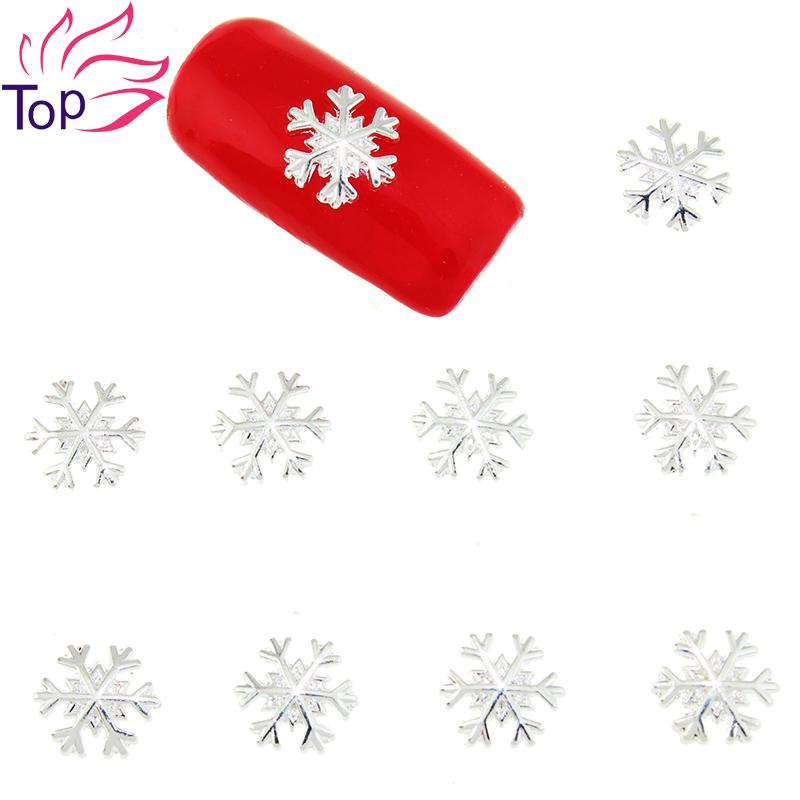 10 Pcs/Lot Gold Silver Alloy Metal Snowflake Design Studs Supplies For Nails Charms Christmas 3D Nail Art Decorations TN1620 silver tone metal 12mm sewing metal fastener press studs buttons 18 pcs