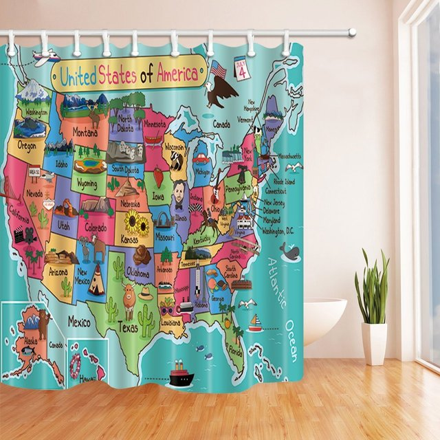 Kids Map Of The United States Bath Curtain Cartoon Fun Facts Geography Usa Polyester Fabric