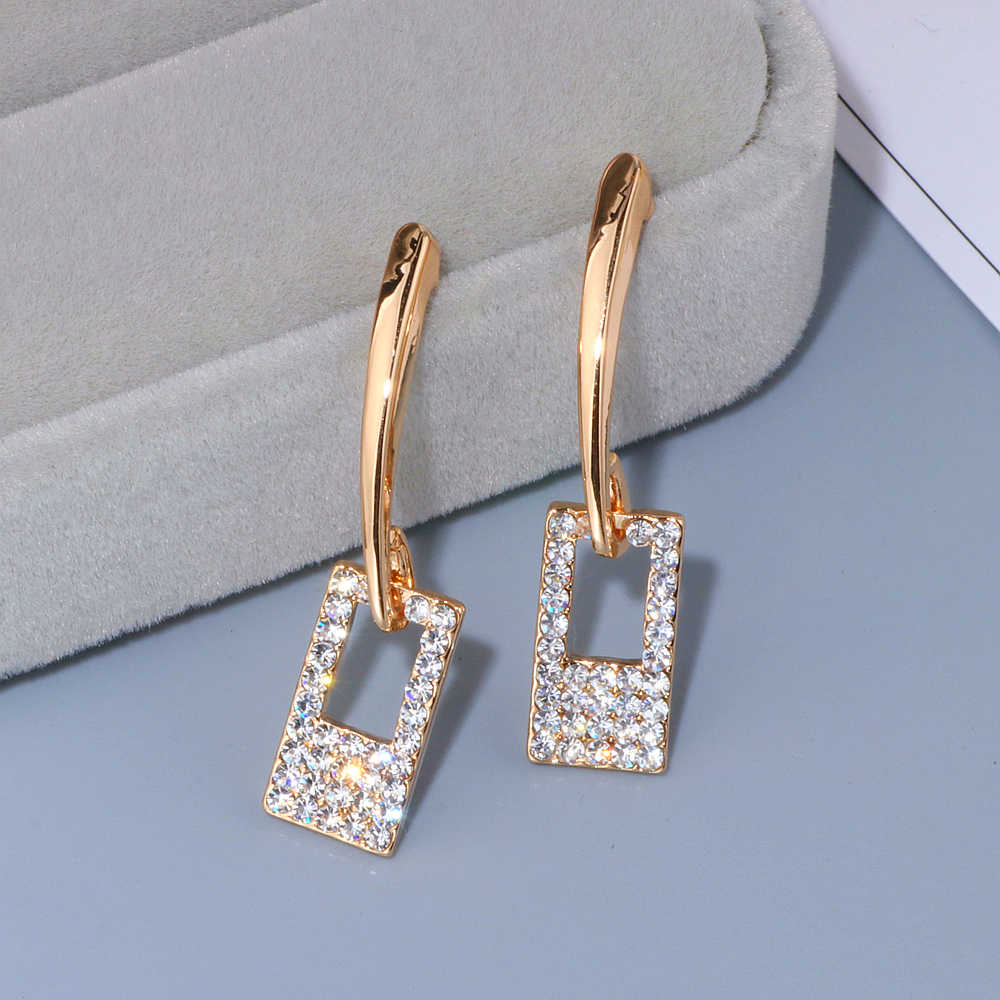 Luxury Classic Gold-Color Long Crystal Earring Brincos Simple Geometric Square Drop Earrings For Women Girls Jewelry Gifts WX092