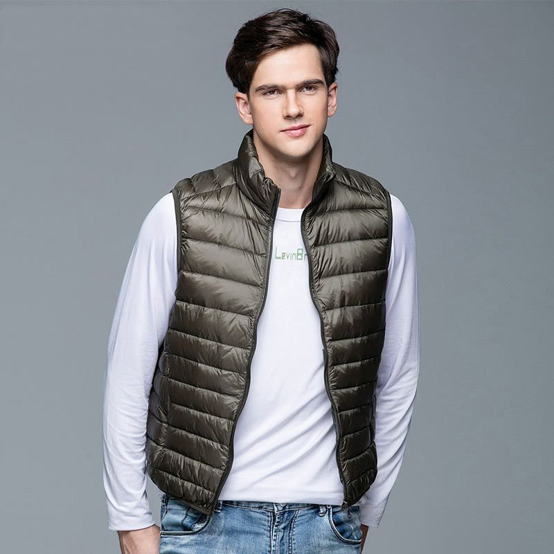 Coat Jacket Vest Ultra-Light Portable Winter 90%White-Duck-Down Sleeveless New For Men