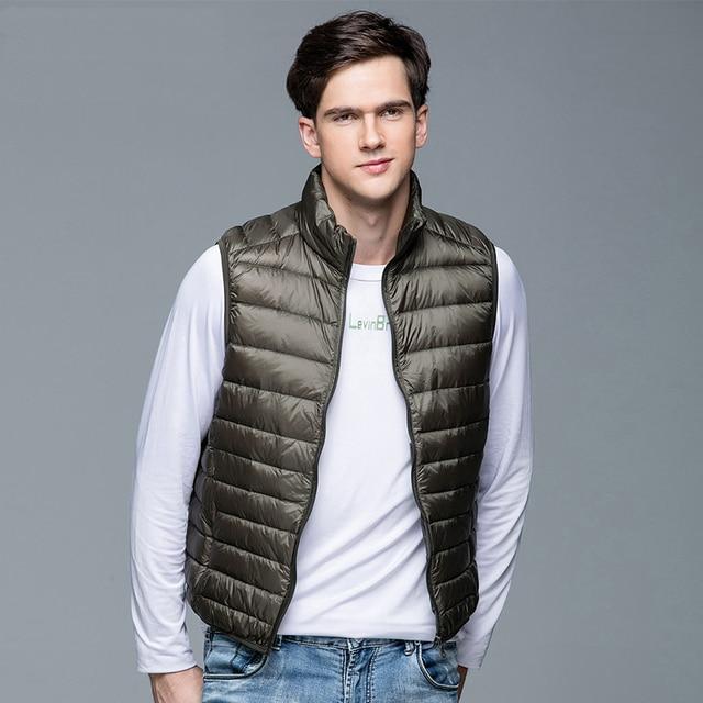 2020 New Men's Winter Coat 90% White Duck Down Vest Portable Ultra Light Sleeveless Jacket Portable Waistcoat for Men