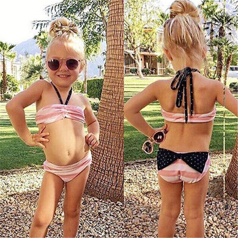 Dziewczynek stroje kąpielowe ubrania zestawy różowy pasiasty - Ubrania dziecięce - Zdjęcie 5