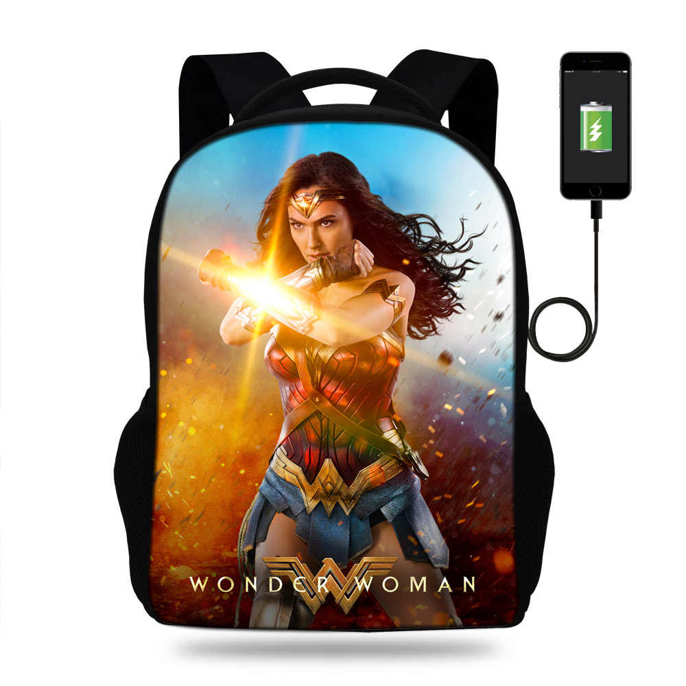 b7d32573f45d 16inch Fashion Marvel 3D Printing Wonder Woman AVengers Batman Boys USB  Charger laptop Travel Backpack Teenagers
