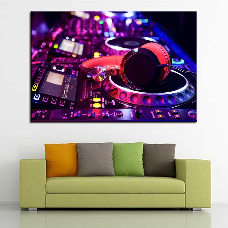 Canvas HD Prints Paintings Wall Art Home Decor 1 Piece/Pcs DJ Instrument Mixer Headphones Pictures Music Dance Bar Posters Frame