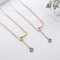 Fashion Brand Women Jewelry Gold Color Roman Letter Clear Simply Small Round Cubic Zirconia Pendant Necklace