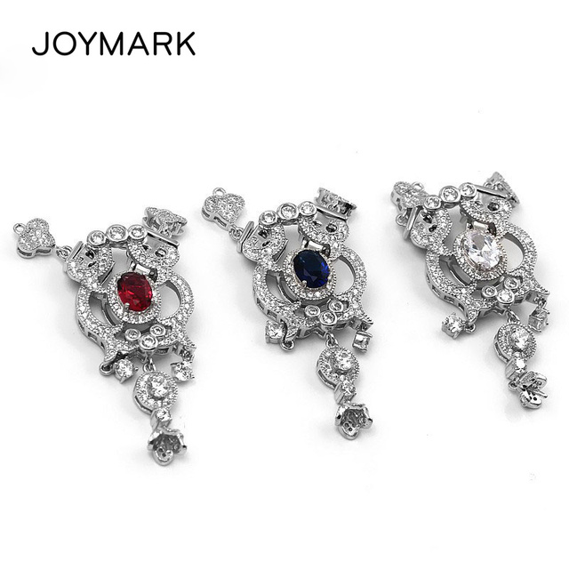 New Hot 925 Sterling Silver Micro Pave Zircon Flower Multifunction Box Clasps Pearl Necklace Pendant Connector Charms SC-CZ032