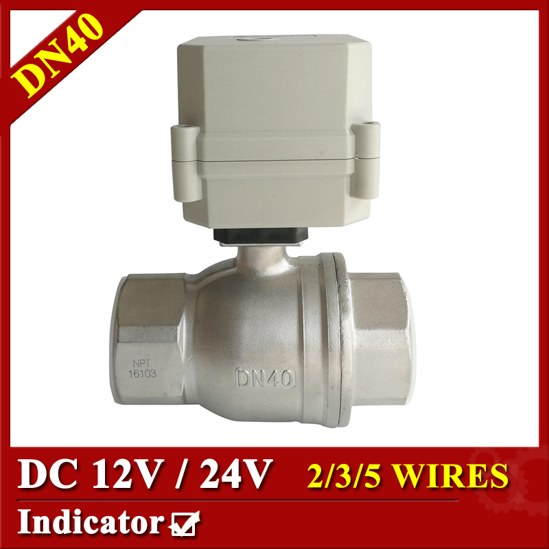 Tsai Fan automated valve DN40 DC12V/24V Stainless steel 304 motorized valve 2/3/5 wires with signal feedback for HVAC systems 1 4 dc12v electric motor valve 2way dn8 motorized valve 5 wires cr501 with indicator and manual override