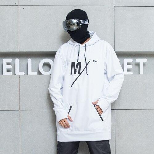 Bluemagic сноуборд мягкая оболочка Комбинированная ткань Длинная толстовка для женщин и мужчин водонепроницаемые толстовки ветрозащитные лыжные костюмы - Цвет: white M logo Man