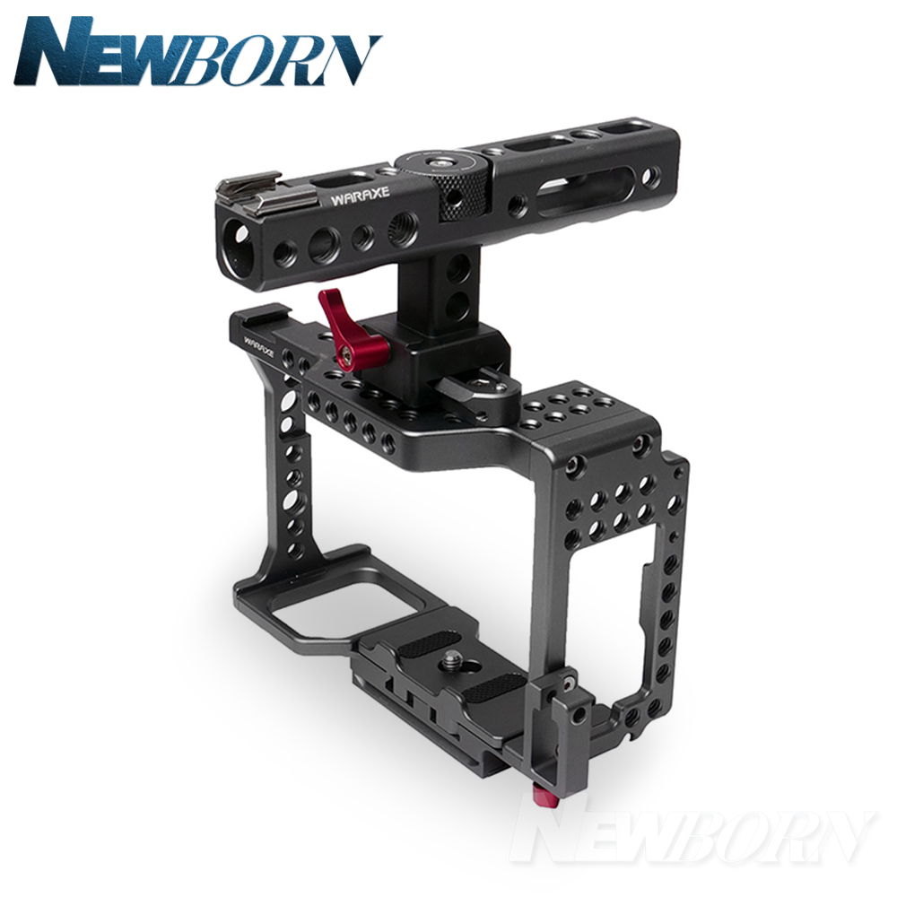WARAXE Kit Camera Cage Built-in Quick Release Fits Arca Swiss for R S II R II,Handle Grip for Cameras