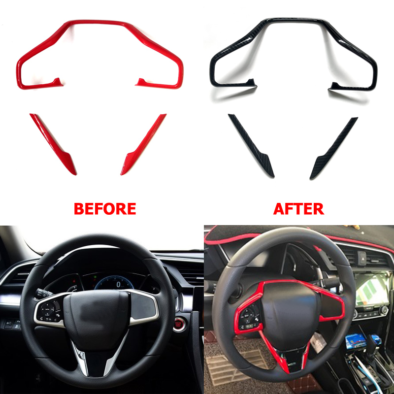 ABS Carbon Fiber Steering Wheel Sticker Steering Wheel Switch Button Cover Sticker Trim For HONDA CIVIC 2016 2017 2018 Type R 3pcs car steering wheel button switch panel cover trim decoration carbon fiber for honda civic 2016 2017 car styling accessories