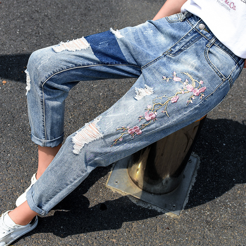Fashion Women Destroyed   Jeans   2018 Summer Hole Ripped High Waist Denim Pants Boyfriend   Jeans   Ankle Length Pant Plus Size