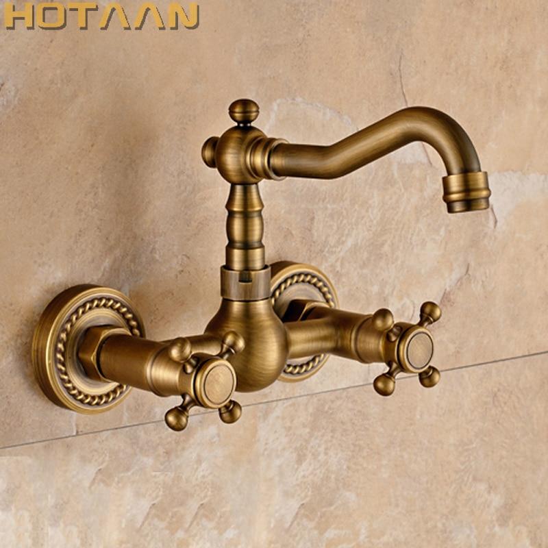 Free shipping Kitchen Faucet torneira wall mounted Antique Brass Swivel Bathroom Basin Sink Mixer Tap Crane