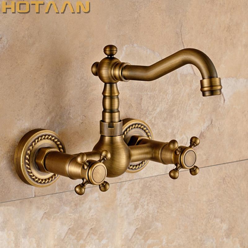 Free shipping Kitchen Faucet torneira wall mounted Antique Brass Swivel Bathroom Basin Sink Mixer Tap Crane,YT-6035 free shipping luxury three piece bathroom faucet brass chromed basin tap wall mounted waterfall faucet lt 303