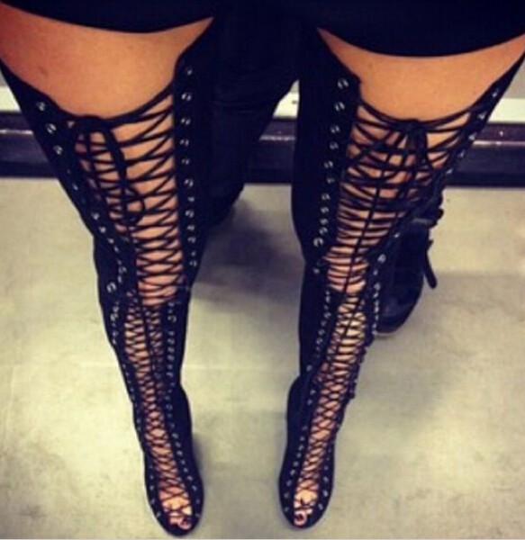 Big Size 13 Hot Selling Black Red Beige Suede Lace-up Tight High Boots Peep Toe Cut-out Gladiator Sandals Boots For Women new 2017 hot selling fashion women luxury sexy black gladiator cuts out open toe lace up back 100 mm phaedra peacock sandals