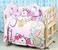 Promoción! 7 unids Hello Kitty bebé juegos de cama de bebé cuna juegos de cama de bebé cama cuna sábana ( parachoques + funda de edredón + colchón + almohada )
