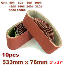 """10Pack 533*76mm bandes abrasives 40 1000 grain Aluminium oxyde ponceuse bandes abrasives 3 """"* 21"""" pour polissage sable ceinture Machine"""