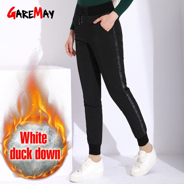 Winter Down Pants With Stripes Women High Waist Warm Black Trousers For Women Lace Up Thick Pants Plus Size Women's Pant Female