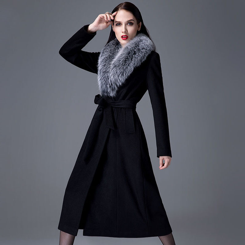 2015 winter women coat black colour womens wool winter ...