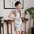 New Summer Traditional Chinese Clothing Cheongsam Vestido  Short Sleeve  Female High Neck Qipao Unique Party Evening Dresses