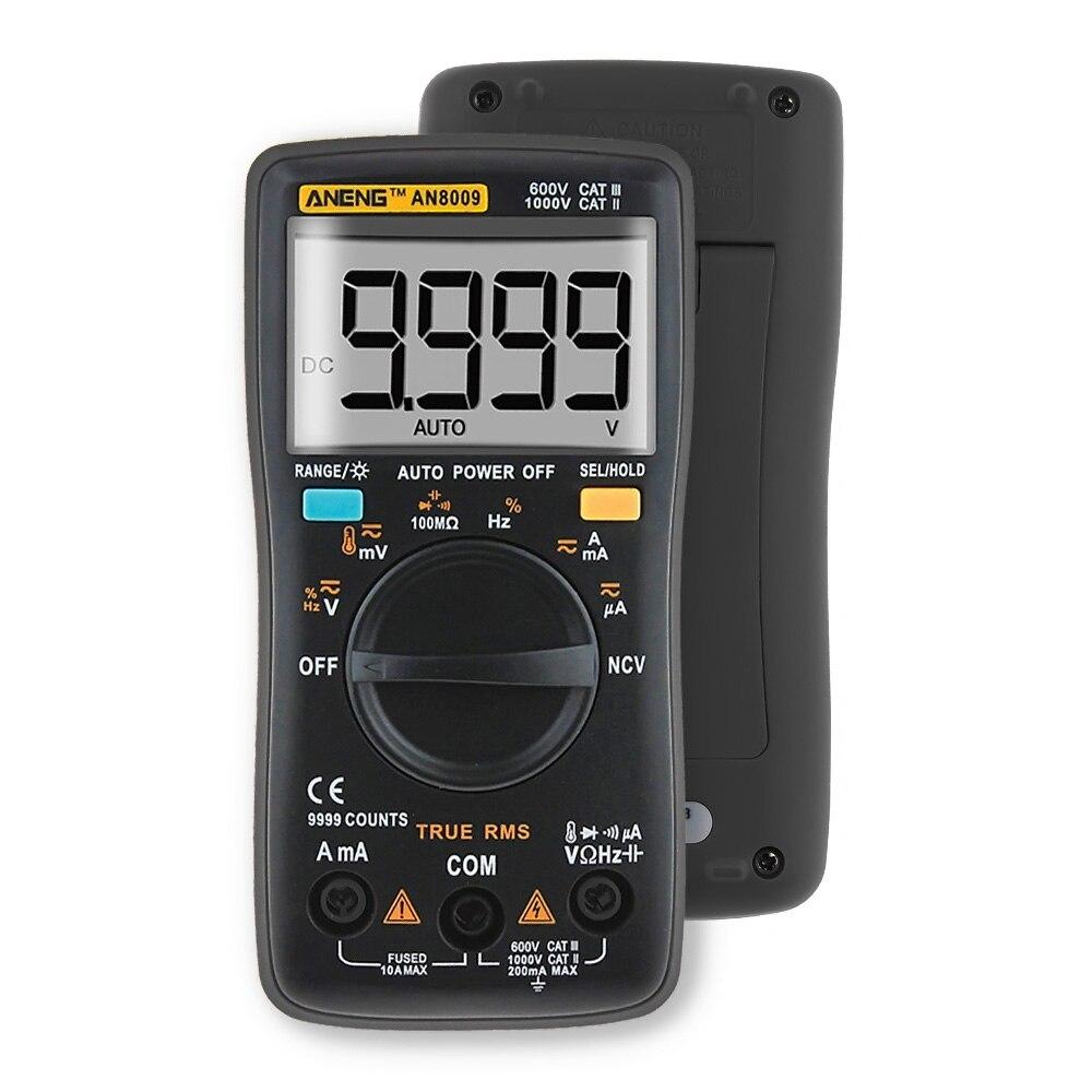 Ohmímetro AN8009 Auto Multímetro Digital 9999 Counts-True RMS AC/DC Amperímetro Tensão Current Meter Tester Transistor Multimetro