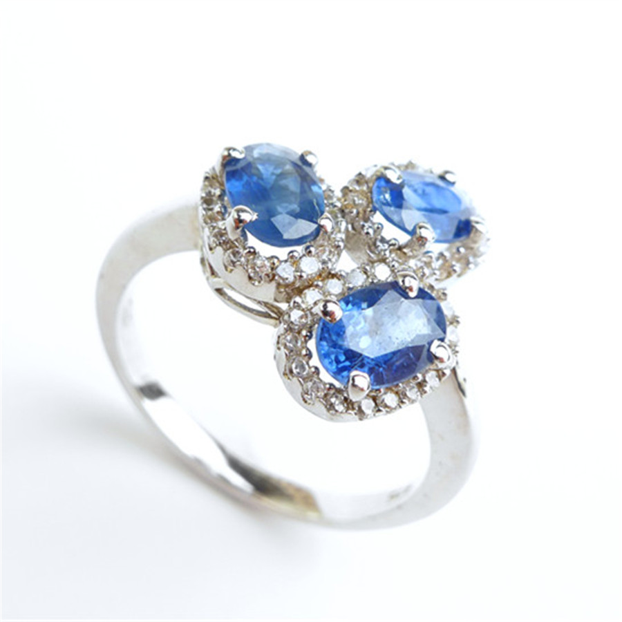 Size 7.5 Natural Blue Genuine Gems Ring Fashion 925 Sterling Silver Engagement Wedding Women Finger Rings vintage cute 925 sterling silver clover cross 7a natural moonstone rings for women wedding engagement jewelry finger bague aneis