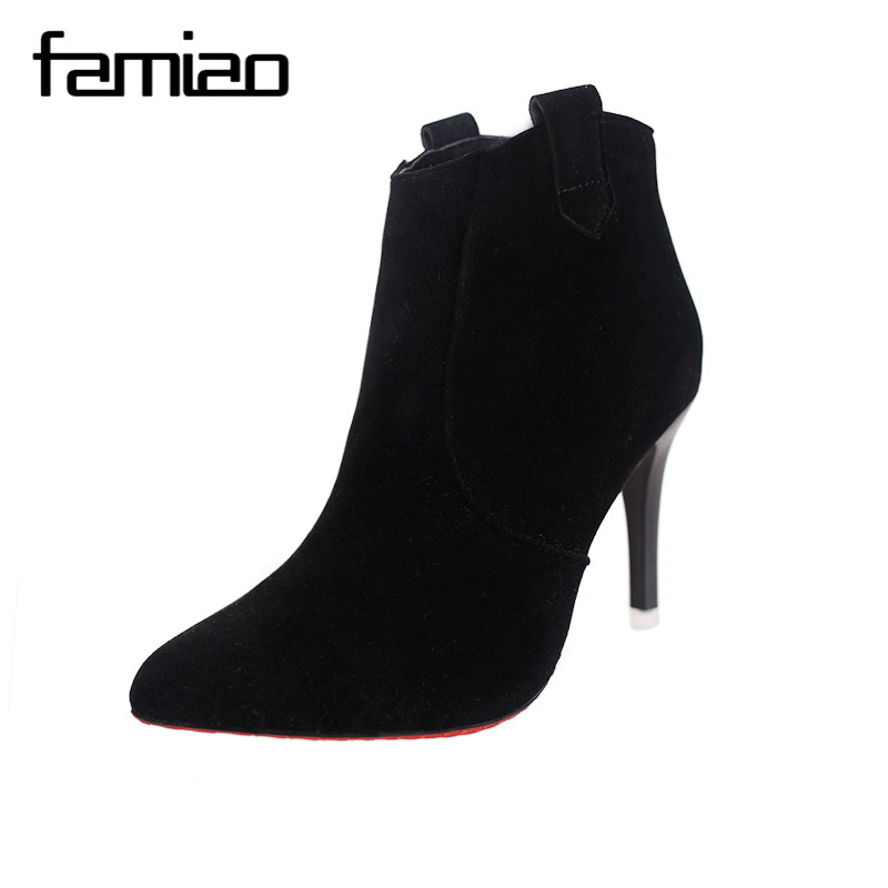 FAMIAO Brand Autumn Winter Women Boots Pointed Toe high heel Ankle Boots Heels Side Zip Short Boot Shoes Woman zapatos mujer brand rivets patchwork ankle boots hidden wedges platform martin boots high heels pointed toe spring autumn boots zapatos mujer