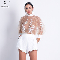 Missord 2019 Women Sexy O Neck See Through Top Solid Color Short Set Lace Up Playsuits FT18708