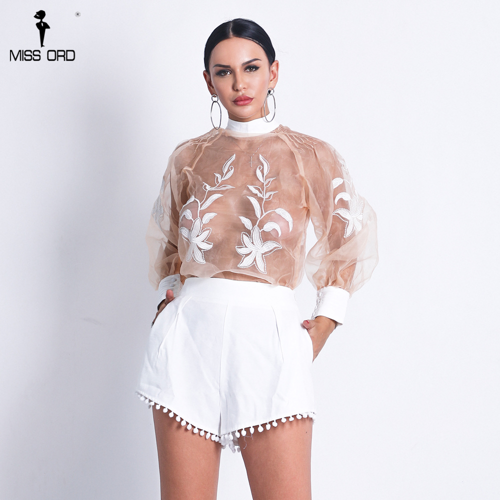 Missord 2021 Women Sexy  O Neck See Through Top Solid Color Short  Set Lace Up  Playsuits FT18708