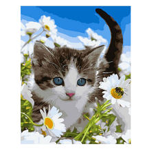 WONZOM Cute Cat DIY Oil Painting By Numbers Wall Canvas Picture Coloring Paint Number Brush Drawing Animal Hand Painted Craft