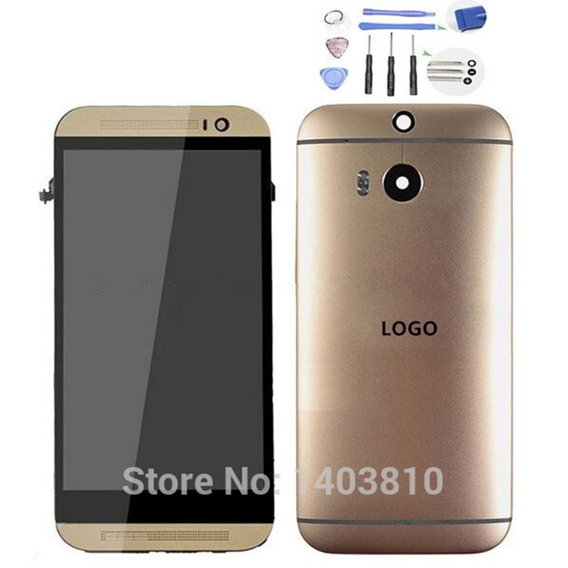 Original Gold For HTC One M8 LCD Display Touch Screen Digitizer Assembly + Middle Frame + back battery cover housing +Tools high quality silver for htc one m7 lcd display touch digitizer screen frame back door battery cover case housing