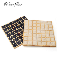 Square Wooden 49 Clip Ring Display Holder Rack Jewerly Accessories Storage Stand Case Store Countertop Ring Jewellery Organizer