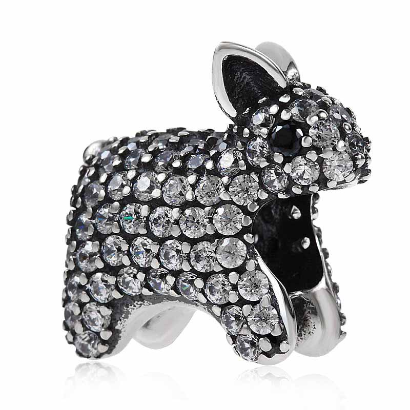925 Sterling Silver Beads Animal Charms Rabbit With Clear CZ Fit Original Pandora Charms Bracelet DIY Jewelry Making