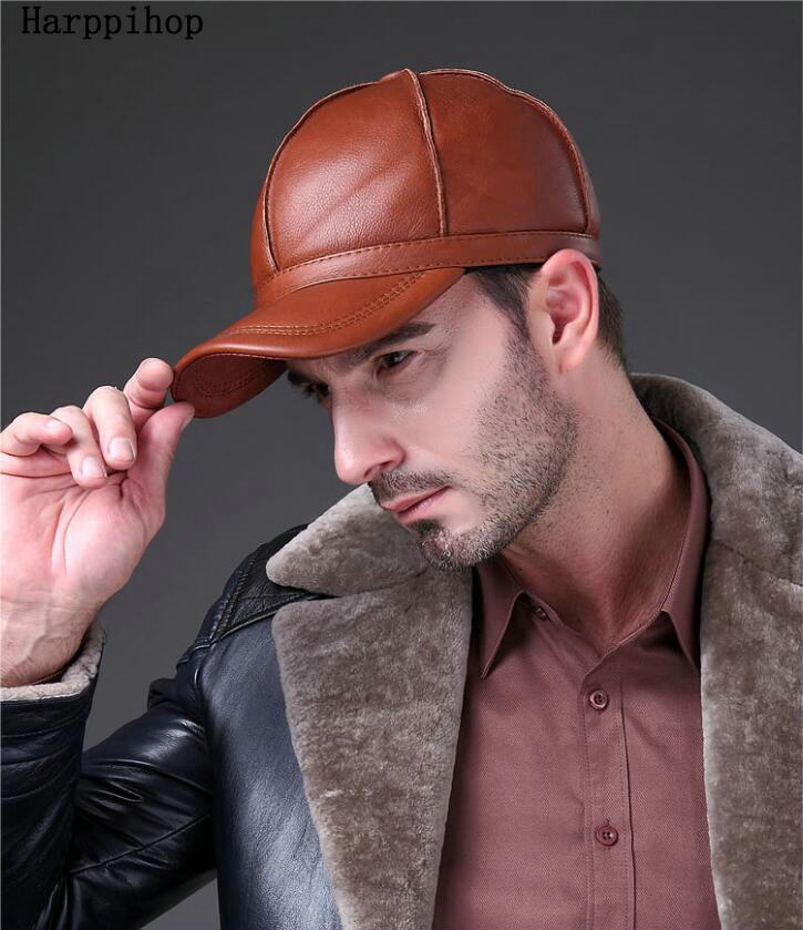 52ca62bbc53 Black Women MEN Genuine Leather Baseball Cap Adjustable Casual Warm HAT  Free Shipping real cowhide hats